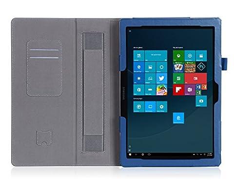 ISIN Housse pour Tablette Série Étui Premium PU avec Support pour Samsung Galaxy TabPro S de 12 pouces SM-W700 W703 W708 Windows 10 2 en 1 Laptop Tablette Avec Sangle Velcro et Slot Cartes (Bleu)