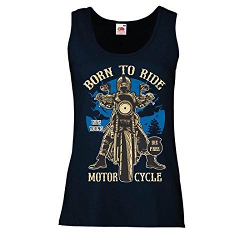 Camisetas sin Mangas para Mujer Live Young - Die Free - Nacido para Montar en Moto, Ideas de Regalos para Ciclistas, Lemas inspiradores (X-Large Azul