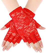 Skylety Sunblock Fingerless Bridal Lace Gloves Short Floral Gloves for Women