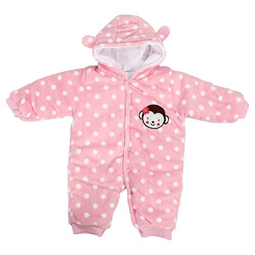 Baby Overall - TOOGOO(R)Baby Kleinkind Baumwolle Langarm Overall Vorne Knoepfe (Rosa, 3-6 Monate)
