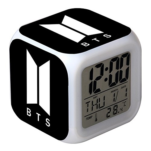 Skisneostype kpop bts 7 colori led sveglia digitale cute cartoon bangtan boys touch night light orologio da tavolo h06
