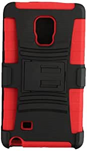 Eagle Cell Samsung Galaxy S6 Edge Skin Plus Hybrid Case and Stand with Holster - Retail Packaging - Red/Black