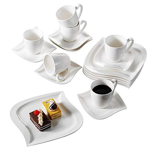 Malacasa, Serie Elvira, 36 tlg. Set Cremeweiß Porzellan Kaffeeservice Geschirrset Tafelservice mit...