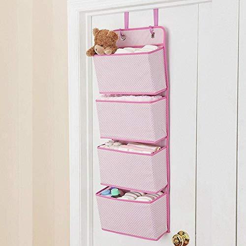 CBCA 4 Tier Tür hängen Veranstalter, Wandbehang Veranstalter Aufbewahrungstaschen Kleiderschrank, für Spielzeug, Magazin, Geldbörsen, Schlüssel, Sonnenbrille, Hut (Rosa)