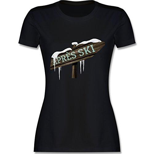 Après Ski - Holzschild Schnee Après Ski - tailliertes Premium T-Shirt mit Rundhalsausschnitt für Damen Schwarz