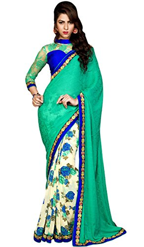 Shaily Retails Women's Green Georgette and Jacquard Sarees With Blouse