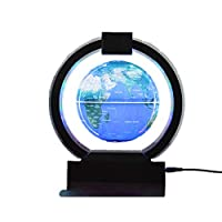 Hnks-Home Globe Magnetic Globe Automatic World Map Power Off Floating Globe With LED Light World Antique Decorative Desktop Office Classroom Educational learning gift (Color : Black)