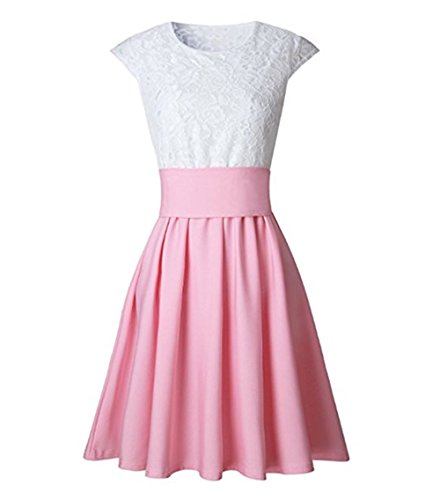 Damen Sommerkleid SpitzenKleid Cocktailkleid Partykleid A Linie Ärmellos Minikleid Pink