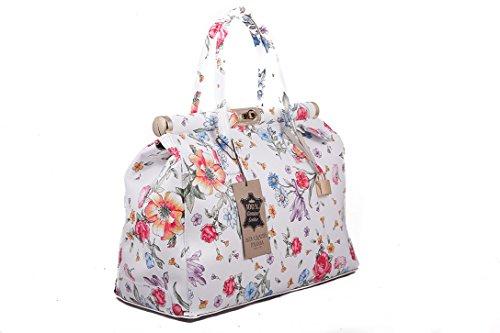CTM Bowler Tasche von stilvollen Frauen mit Griffen und Schulterriemen, 35x28x16cm, echtes Leder Made in Italy Flower