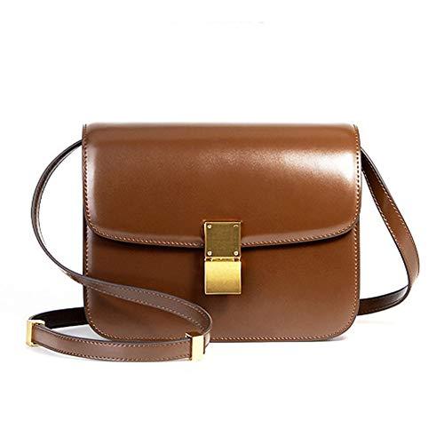 Yoome Frauen Rindsleder Mode Handtasche Quilten Umschlag Cross Body Flap Umhängetasche - Brown