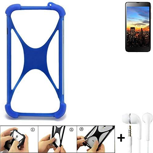 K-S-Trade Bumper für Hisense HS-U970E-8 Schutzhülle Handyhülle Silikon Schutz Hülle Cover Case Silikoncase Silikonbumper TPU Softcase Smartphone, Blau (1x), Headphones