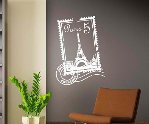 Wandtattoo Skyline Paris Stadt Stamps Briefmarke Marke Wand Aufkleber Türaufkleber Möbelaufkleber Autoaufkleber Wohnzimmer 5M229, Farbe:Weiß glanz, Hohe:70cm - Paris-wand-aufkleber