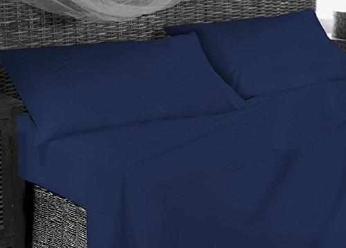 Completo lenzuola in 100% cotone in tinta unita francese blu notte