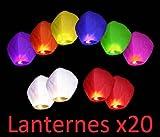 Gift_Shop Lot de 20lanternes chinoises volantes, colorées, aluminium, mixtes, 33x 86cm