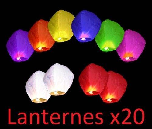 Gift_Shop juego de 20farolillos chinos voladores, DE colores, Aluminio, mixtos, 33x 86cm