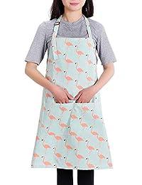 Hermoso delantal Delantal babero ajustable, con bolsillos Delantal de cocina de cocina Para mujeres (