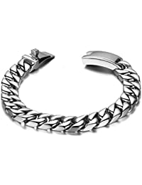 Jewelry Durable Stainless Steel Men's 12mm Wide Chunky Biker Chain Bracelet Link Wristband, Colour Silver 8 Inch Length (with Gift Bag)