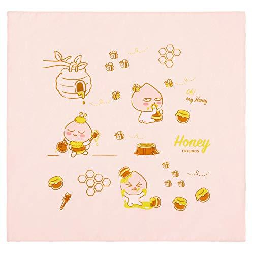 KAKAO FRIENDS Honig-Bienen-Freunde-Platz weichen Tuch Bandana Halstuch Handkerchief süßer Charakter 45 * 43 cm Ein Pfirsich (Kakao Freunden)