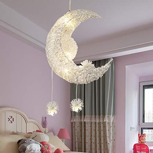 nleuchter Elegante Deckenleuchte Stern und Mond geformt Pendelleuchte Unterputz-Deckenleuchte Tolles Geschenk für Freunde und Familienmitglieder für Kinderzimmer Dekoration ()