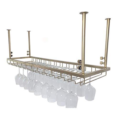 Jia He Weinregalen Weinregale - Europäische Bar hängen Rack, Gold Schmiedeeisen höhenverstellbar Bar Counter Weinkühler, kann mehrere Weingläser hängen [3 Größen verfügbar] (größe : 120x30cm)