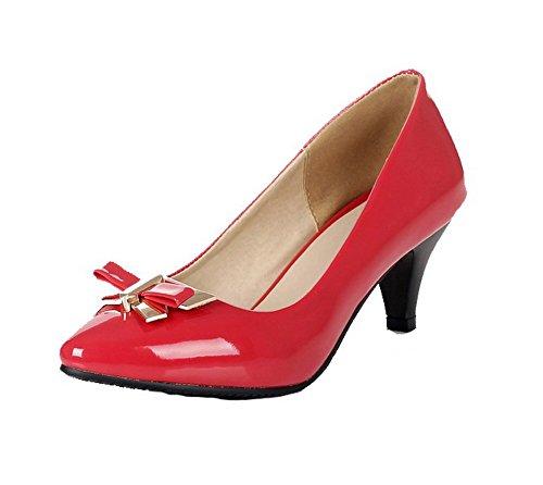 Correct Couleur Légeres Chaussures à VogueZone009 Unie Talon Verni Pointu Tire Rouge Femme 54YOxwqg