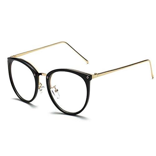 Hzjundasi Computer Brille Blaues Licht Filter Vintage Klare Linse Leser Brillen Männer/Frauen Anti-Augenleiden (Helles Schwarz, 52)