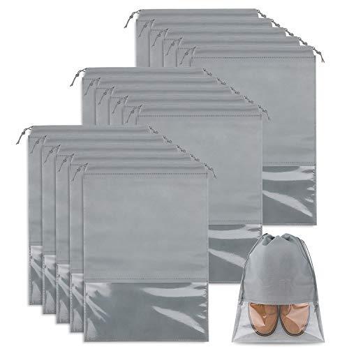 Whaline 15 Stück Schuhbeutel Transparente Schuhtasche Set, Schuhsack mit Fenster für Sport, Camping, Reisen (Hellgrau)