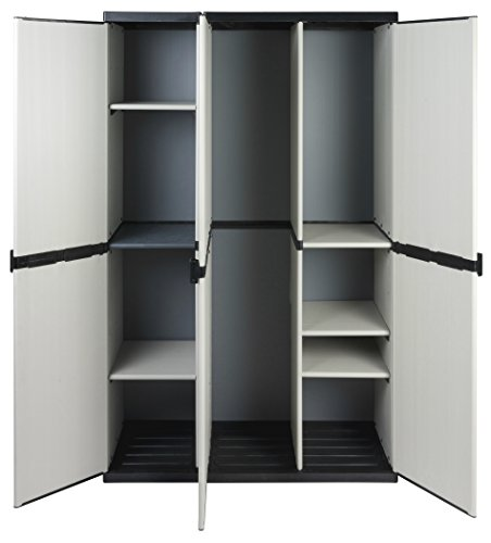 Modularer Universal Kunststoffschrank mit drei Türen, Spind / Freifach und höhenverstellbaren Böden. Robuste Ausführung, in Grau. Maße BxTxH : 102 x 39,5 x 168 cm.
