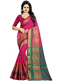 BikAw Zari Work Woven Pink And Pink Cotton Silk Kanjivaram Silk Style Traditional Festive Wear Women's Saree/Sari.