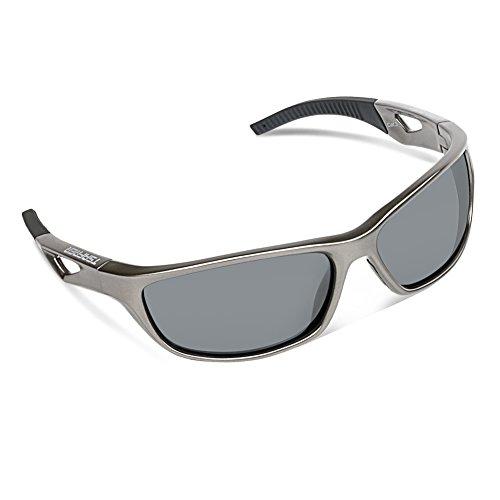 TSAFRER Sport Sonnenbrille Polarisierte Sportbrille Fahrradbrille mit UV400 Schutz für Damen und Herren Autofahren Laufen Radfahren Angeln Golf TR90 (Gray-Gray)
