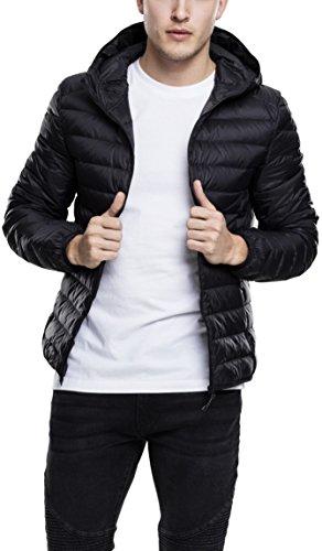 Urban Classics Herren Hooded Down Jacket, gefütterte Daunenjacke für Herbst und Winter, praktisch verstaubar in mitgelieferter Tasche - black, Größe S