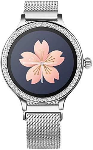Qin~xiao Bluetooth Smart Uhren M8 Frauen Arbeiten Smart-Armband-Uhr-Herzfrequenz-Blutdruck-Pedometer Physiologische Erinnerung Fitness Sport Strass Uhr Uhr für Männer Frauen Kinder (Color : C)