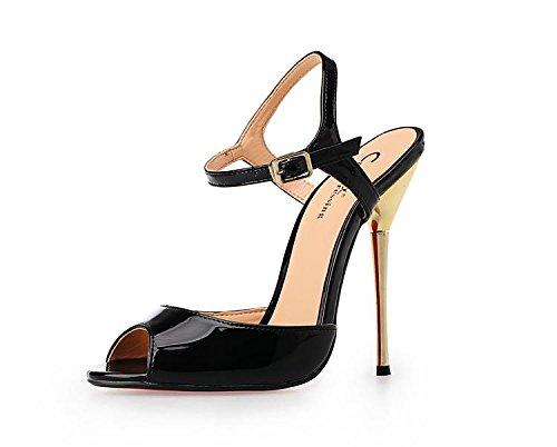 HeiSiMei Damen Sandalen / Komfort Leder / Stiletto Metall Ferse / Open toe Schuhe / Nachtclub / Party & Abend / Büro & Karriere / Pseudo-Mutter High Heels / Herren / Unisex BLACK-50