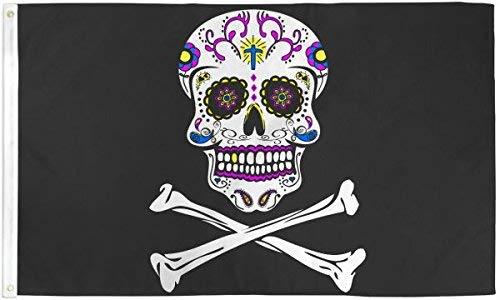 Sugar Skull Piraten Flagge 3x 150Poly - Poly Flag Banner