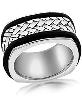 Tuscany Silver Fischgrätkette Ring Sterling Silber Gemustert Leder Einlegearbeiten - Größe S