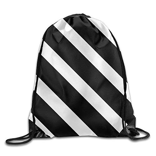 awstring Bags Bulk, Black Oblique Line Basic 100% Polyester Drawstring Backpack Roomy Fantastic Travel Bag 16x14 Inch for Adult Size: 4133cm ()