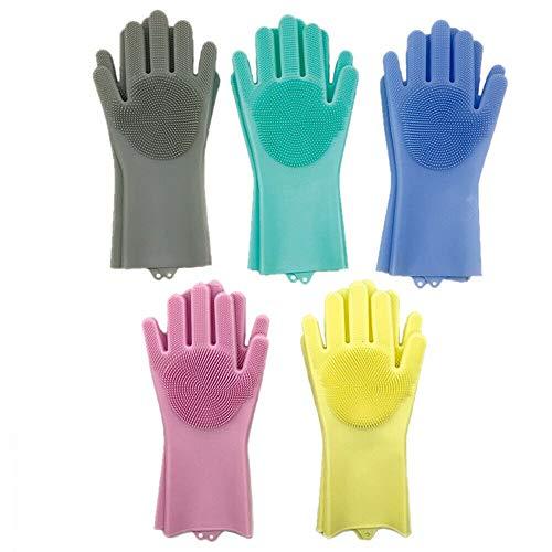 Eghunooye Silikon Handschuhe Kitchen Gloves Wash Scrubber Silikonhandschuhe Waschhandschuhe Schwamm Spülhandschuhe Putzhandschuhe für Toilette Bad Haushalts Reinigung Autowäsche (Blau, Rechte Hand) -