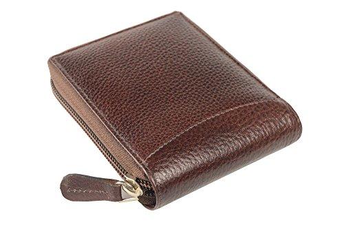 iMEX Men's Cherry Brown Round Zipper Genuine Leather Wallet