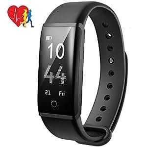 Mpow Activity Tracker IP67, Orologio Contapassi Bluetooth Fitness Tracker Ciclismo Pedometro Contapassi e Calorie Orologio Fitness Cardiofrequenzimetro da polso per Uomo Donna per Android iOS, Nero