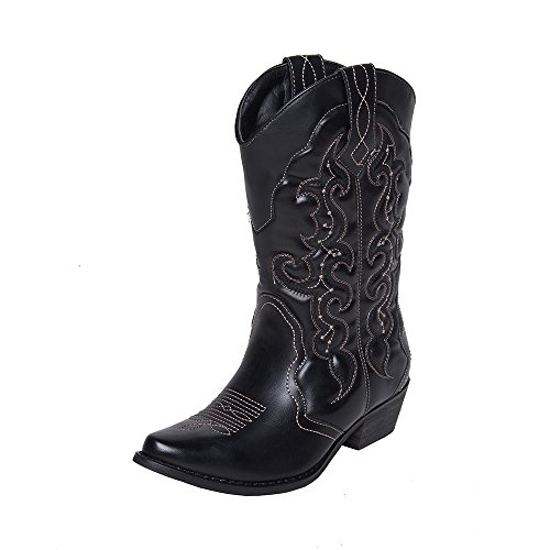 SheSole Damen Cowboy-Stiefel aus Leder - gefütterte Westernstiefel für Damen - Cowboy Stiefel