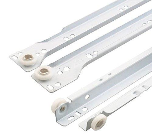 10 X Mprofi MT® (10 Paar) SCHUBLADENSCHIENEN WEIß 450 mm Rollenführung Schubladenauszug Teilauszug V4501