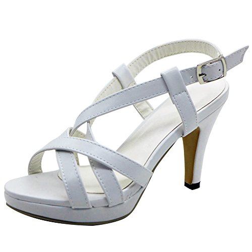 COOLCEPT Damen Mode-Event Gladiator Strappy Bootie Sandalen Stiletto Peep Toe White