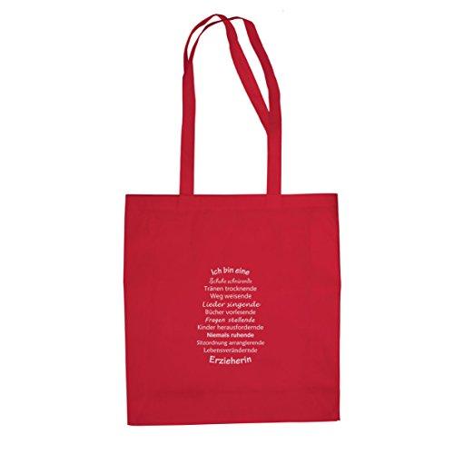 Ich bin eine Erzieherin - Stofftasche / Beutel Rot