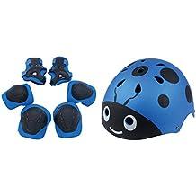 foxom Kids casco y protectores para rodillas para BMX, monopatín, patines Scooters, conjuntos de protección, traje para niños a partir de 3–12años, azul