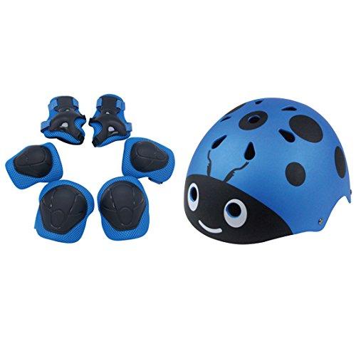 LDB SHOP 7 Stück Kinder Sport-Schutzausrüstung Knieschoner Ellenbogenschoner Handgelenkschutz Helm Schutzset für Skate Fahrrad Radfahren Reiten Skateboard Roller Skate 3-12 Jahre alte-Blau (Roller Skates Für Jungen Größe 6)