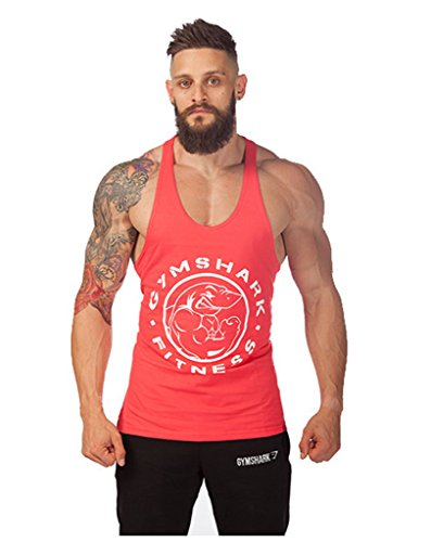 Lendoo da uomo cotone Bodybuilding Sports Vest Red Shark XX-Large