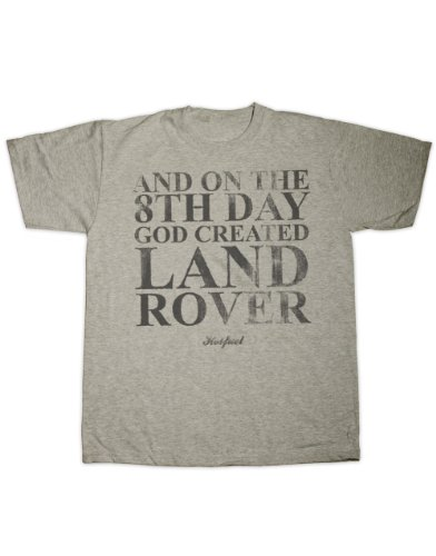 """Hotfuel T-Shirt mit Aufschrift """"And on the 8th day God created Land Rover"""", 100% Baumwolle grau grau"""