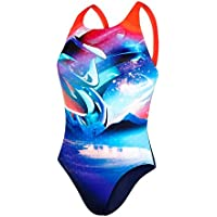 Speedo Solar Surface Placement Digital Powerback Bañador de Espalda Clásica, Mujer, Azul (Navy/Lava Red/Bondi / Spearmint), 34