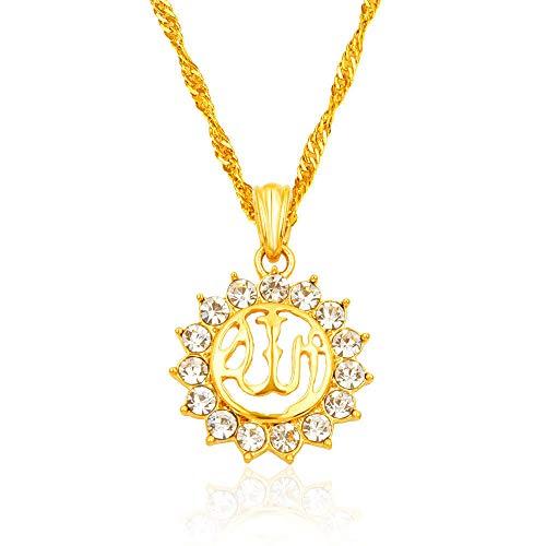 Halskette Lange Ketteislamischer Ala-Allah-Halskette Aus Diamanten 18K Arabischer Muslimischer Anhänger