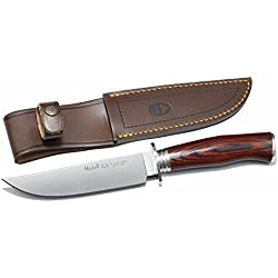 Cuchillo enterizo de caza Muela Elk ELK-14R.I, puño de madera prensada coral, hoja de 14 cm, peso 145 gramos + tarjeta multiusos de regalo
